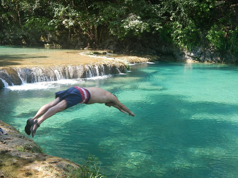 Dan Diving at Semuc Champey